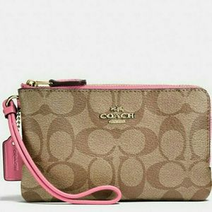 💜{NEW WITH TAGS}✔●Coach Double Zip Wristlet 💜✔️